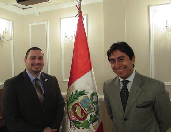 l to r: Erick Aponte, Peru's trade counselor based in Miami, and Carlos Castillo, deputy consul of Peru.