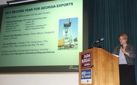 Kathe Falls, director of international trade at the Georgia Department  of Economic Development, toured Georgia Jan. 28-Feb.1 promoting the  state's agricultural exports and encouraging small businesses to think  of global markets.