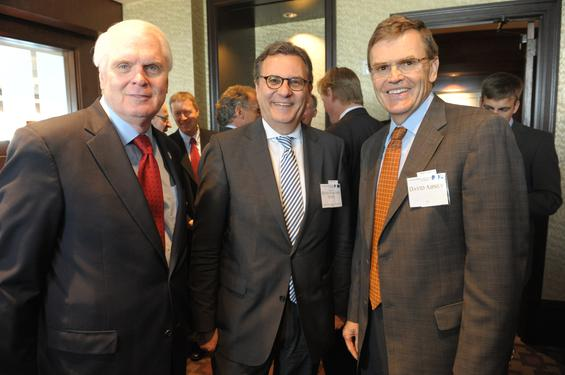 From left to right: Wayne Lord, president of the World Affairs Council of Atlanta; HansJoachim Otto, parliamentary state secretary of the German Federal Ministry of Economics and Technology and David P. Abney, COO of United Parcel Service Inc.