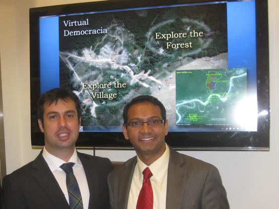 Leonardo Barrionuevo, president of the Empresa Brasileira de Conservacao de Florestas, and Gaurav Kumar, project risk manager at the National Monuments Foundation, following a meeting with Global Atlanta at the Millennium Gate.