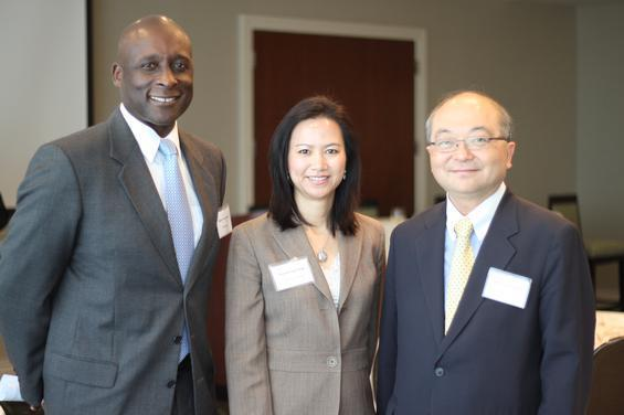 Left to right: Mario Yearwood, VP for foreign exchange, J.P. Morgan in Houston; Guanming Fang, attorney, Womble, Carlyle, Sandridge and Rice LLP and chair, Georgia China Alliance; and Kok-Chi Tsim, managing director for international banking, J.P. Morgan in Chicago.