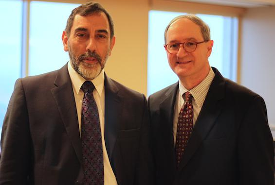 Pinchas Landau, left, with Tom Glaser, president of the American Israel Chamber of Commerce Southeast.