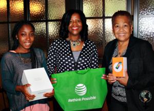 Award winners Narkie Agbettor from Ghana on left; Twyla Johnson, senior business manager, AT&T, center; Felicia Davis of Atlanta, on right.